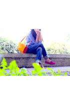 carrot orange Zara bag - blue Ralph Lauren shirt - hot pink Tods flats