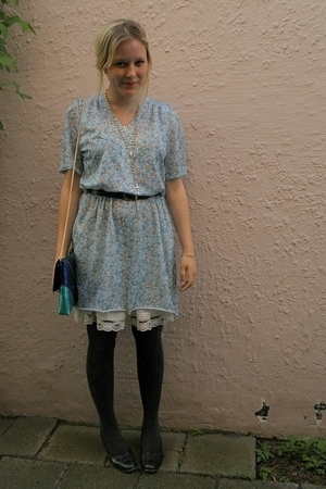 vintage dress - H&M skirt - purse