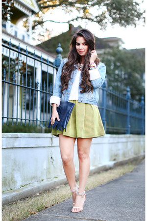 yellow Forever 21 skirt - navy Forever 21 jacket - teal Madly yours purse