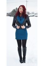 black Suzy Shier jacket - black Ebay boots - blue Sirens sweater
