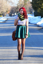 teal homemade skirt - dark brown Call it Spring shoes - green Fairweather scarf