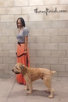 pleated maxi Zara skirt - antique key house of harlow ring - woven Mossimo belt