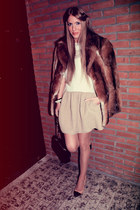 faux fur vintage coat - duo H&M Trend dress - duo tone Zara heels