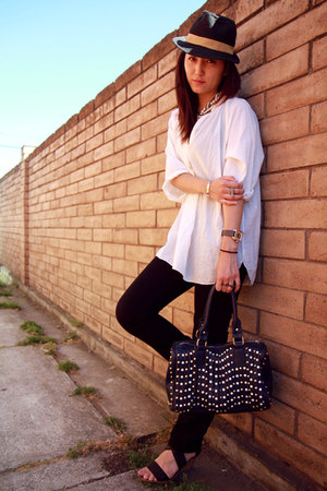 navy studded bag MMS bag - black skinny jeans Express jeans - white BCBG shirt