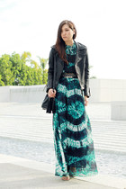 black leather no brand jacket - green H&M dress - black H&M bag