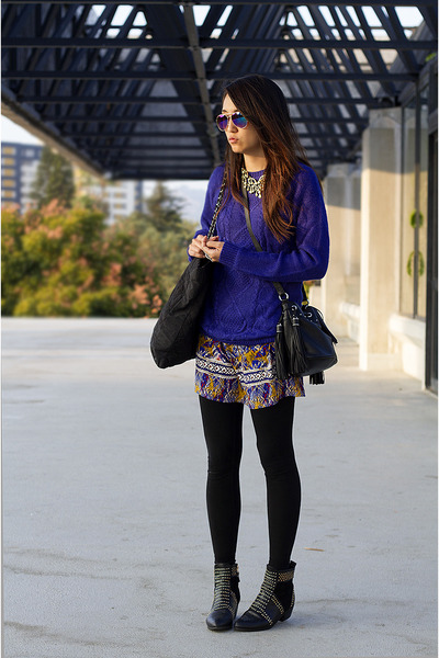 blue H&M sweater - black Ebay boots - yellow Target dress - black H&M bag