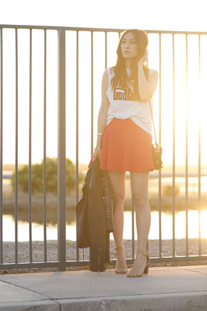 carrot orange cotton blend H&M skirt - black leather no brand jacket
