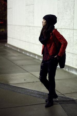 ruby red leather Bauhaus jacket