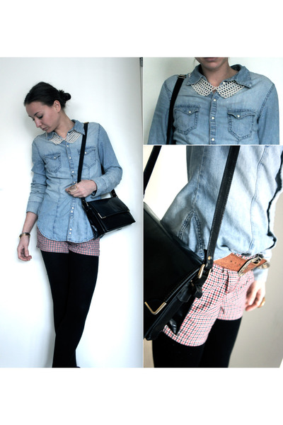 pearl collar H&M necklace - vintage bag - Pull & Bear shorts - denim H&M blouse