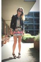 Aztec skirt & black leather motorcycle jacket