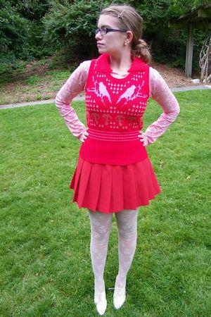 red Judi Rosen New York sweater - red shirt - red skirt - white H&M tights - whi