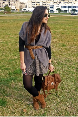 bronze Zara bag - silver vintage cardigan - bronze pull&amp;bear boots - bronze Mang