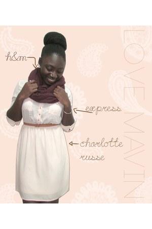 peach Charlotte Russe dress - maroon infinity H&M scarf