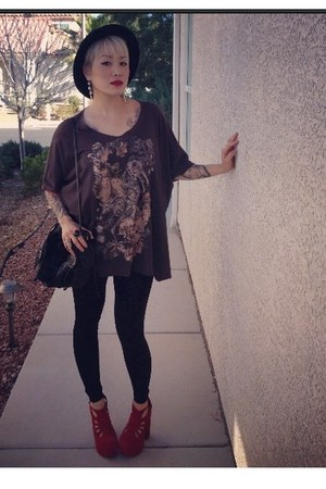 cats All Saints shirt - feathers Forever 21 hat - Thrift Store bag