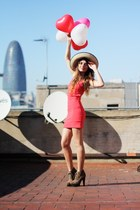 coral asos dress - cream straw floppy asos hat - light brown Steve Madden heels