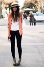Salmon-blazer-h-m-jacket-black-shiny-american-apparel-leggings-black-round-o