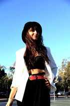 white Zara jacket - black fedora Zara hat - black lace bralette H&M bra