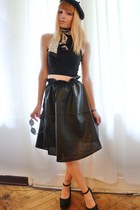 black leatherette skirt