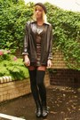 Bronze-metallic-dress-black-leather-jacket