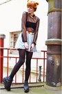 Black-flatform-boots-sky-blue-denim-skirt-black-mesh-top