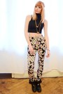 Black-top-flower-print-pants