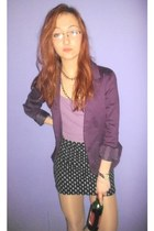purple New Yorker suit - amethyst bra - black pull&bear skirt