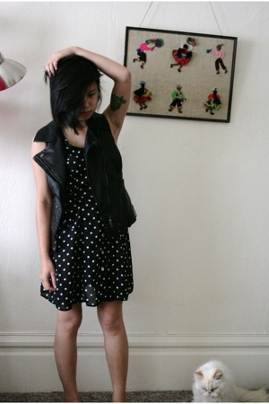 forever 21 forever21 vest - vintage from thrift store dress