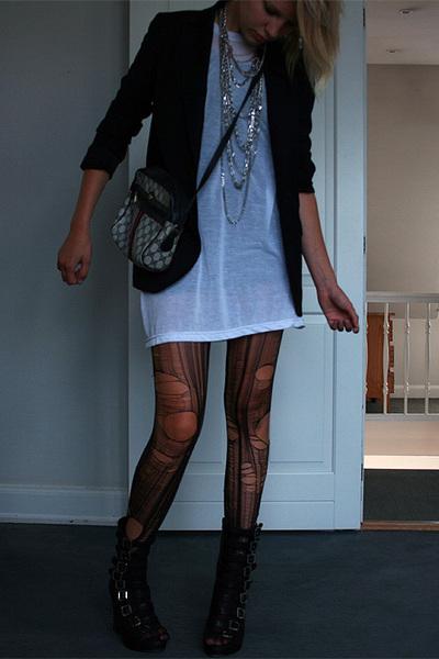 Second Female blazer - American Apparel t-shirt - DIY tights - Gucci purse - H&M