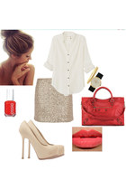 balenciaga bag - rag & bone blouse - Dorothy Perkins skirt - tribute YSL heels
