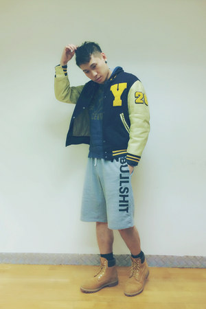 Golden Bear jacket - 10061 Timberland boots - gym shorts Fresh Goods shorts