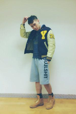 Golden Bear jacket - 10061 Timberland boots - gym shorts Fresh Goods shorts