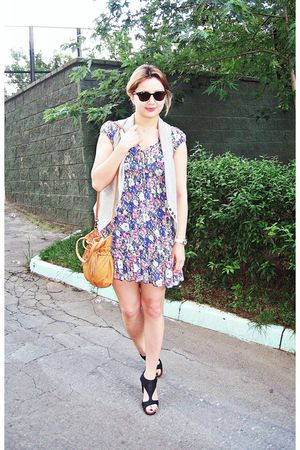 purple new look dress - brown Zara purse - gray Chie Mihara shoes - brown Ray Ba