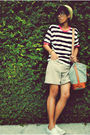 White-shirt-beige-shorts-yellow-hat-white-shoes-gray-purse-black-glass
