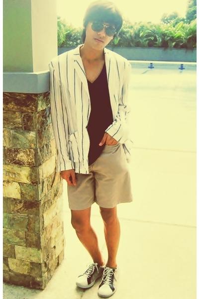 blue Zara shirt - white blazer - beige Gap shorts - white shoes - black Ray Ban