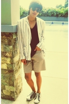 blue Zara shirt - white blazer - beige Gap shorts - white shoes - black Ray Ban
