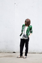green Zara blazer - white leopard print Zara bag - green Stradivarius sunglasses