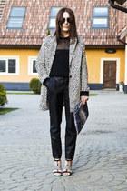 white reserved coat - black Secondhand sweater - DIY bag