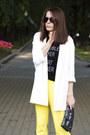 White-stradivarius-blazer-yellow-zara-pants-black-h-m-t-shirt
