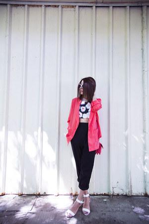 coral oodji blazer - coral Redmond bag - black floral print Zara top