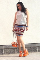 orange bag - light orange sandals - ivory Guess top - silver bracelet