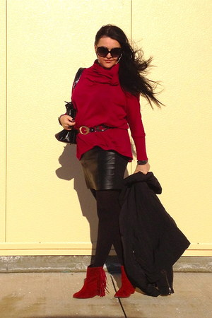 black bag - ruby red boots - black Zara skirt - black Guess belt