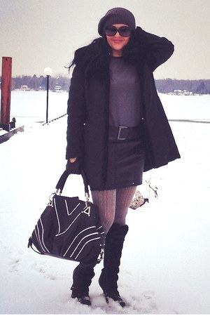 black boots - black Fornarina coat - black bag - black Zara skirt