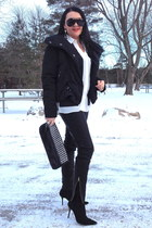 black boots - white Zara shirt - black bag - black Zara pants - silver earrings