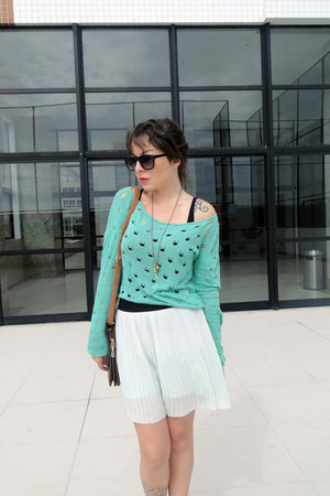turquoise blue Me Move cardigan - light blue Zara skirt