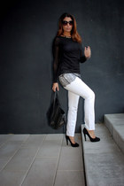 black lace BCBG sweater - white BCBG jeans - black Celine bag