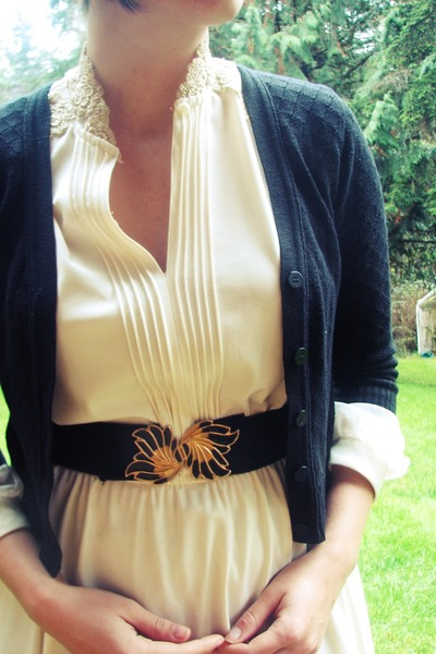 eggshell thrifted vintage dress - black Goodwill cardigan - black Goodwill belt