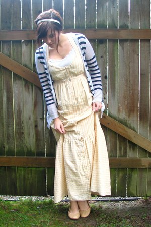 white striped Target cardigan - light yellow striped maxi Forever 21 dress