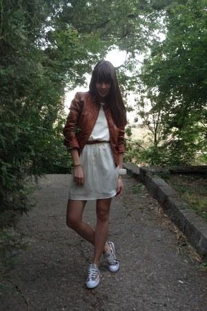 ivory H&M dress - burnt orange leather BLANCO jacket - brown All star sneakers