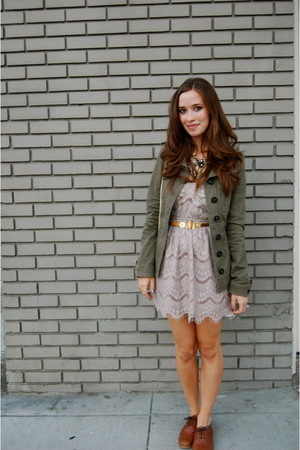green H&M jacket - pink Nasty Gal dress - brown Steven by Steve Madden - gold vi
