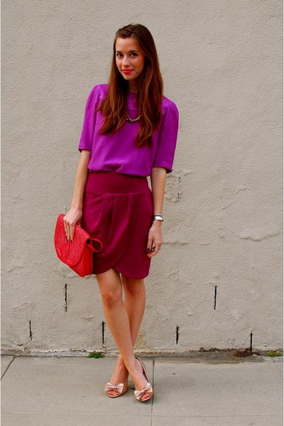 pink Blaque Market skirt - hot pink thrifted straw thrifted purse